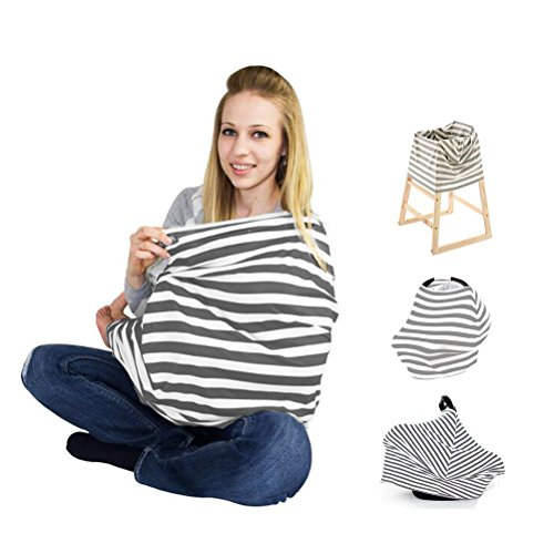 COS2BE Multifunctional Nursing Cover- Stretchy Infinity Breastfeeding Scarf- Baby Infant Car Seat Cover Canopy- Stretchy Shawl for Women-Snug Warm Breathable Windproof for Girls Boys & Mommy (Grey)