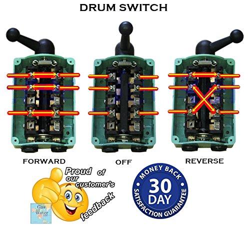 Drum Switch Forward-Off-Reverse Motor Control Rain Proof 60A Guaranteed