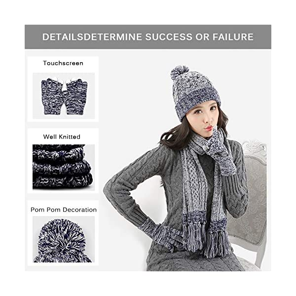 DTBG Knitted Beanie Gloves & Scarf Winter Set Warm Thick Fashion Hat Mittens 3 in 1 Cold Weather for Women
