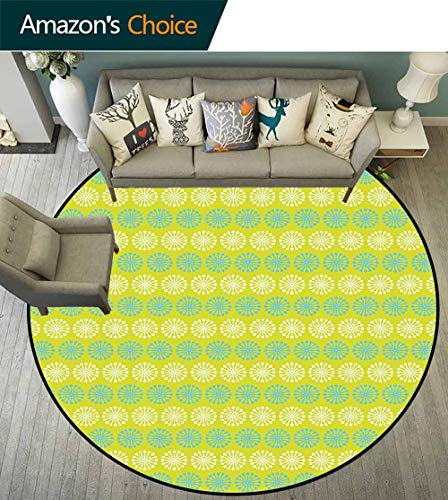 - Geometric Round Rug for Kids,Floral Pattern Blossoming Dandelion Nature Spring and Summer Theme Protection and Cushion for Floors,Yellow Green Blue White,D-55