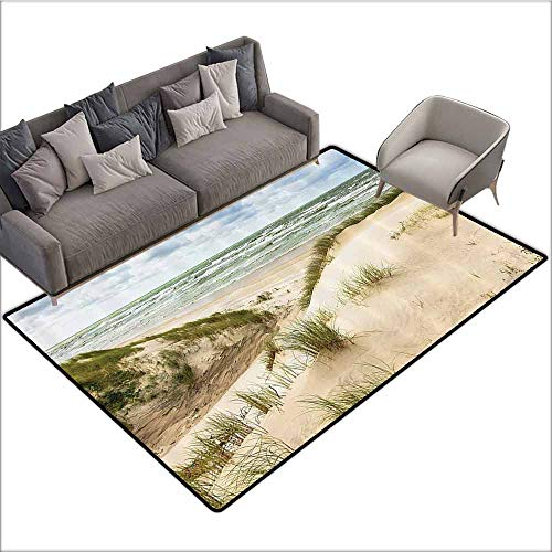 Slip-Resistant Washable Entrance Doormat Seaside Decor Collection,Windy Day in The Baltic Seaside in Lithuania Huge Grand Waves Tidal Flow Surfing Spot,Cream Blue 80
