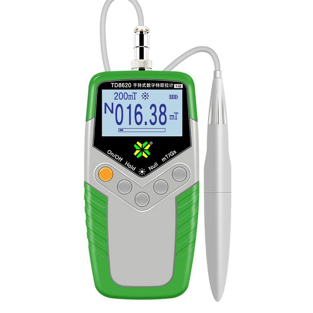 Handheld Digital Tesla Meter Tester High-Precision Magnetic Field Gauss Meter Digital Magnetic Detector Electromagnetic Field Radiation Detector LCD EMF inspections (TD8620-1)