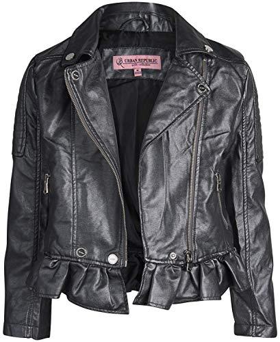 Urban Republic Toddler & Big Girls Faux Leather Motorcycle Moto Biker Jacket (14, Gunmetal Metallic)' (Biker Girl)