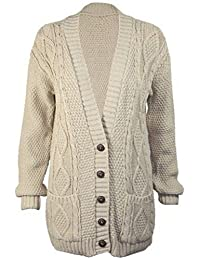 Ladies Long Chunky Cable Knitted Button Cardigan CA Size 6-24