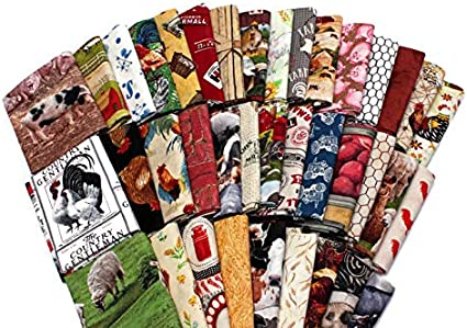 Fat Quarter Farm Life White Sewing Cotton Quilting Fabric