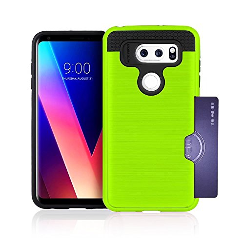 (LG V30 Case,Berry Accessory Dual Layer Hard Silicone Rubber Hybrid Defender Armor Card Slot Holder [Slim Fit] Full Body Protective Cover for LG V30 - Green)
