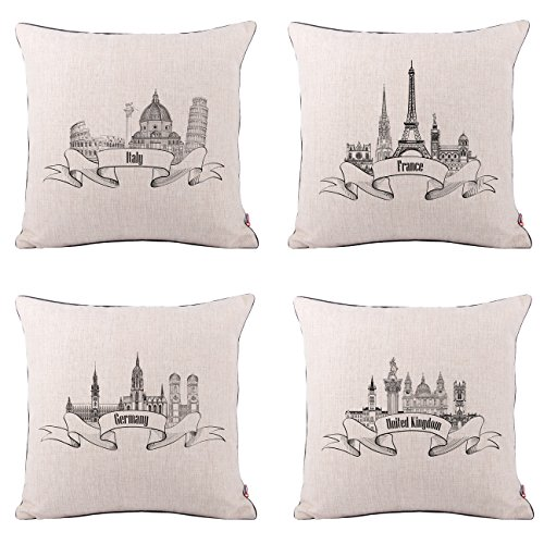 Queenie - 4 Pcs Famous Landmarks In the World Thick Cotton Linen Decorative Pillowcase Cushion Cover Throw Pillow Case 18 X 18 Inch 45 X 45 Cm (European Countries Bundle Set of 4) (Best Landmarks In The World)