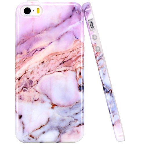 - JAHOLAN iPhone 5 Case, iPhone 5S Case Purple Marble Design Slim Shockproof Clear Bumper TPU Soft Case Rubber Silicone Cover Phone Case for iPhone 5 5S SE