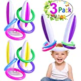 3 Pack Easter Inflatable Bunny Ears Ring Toss Party Games Easter Indoor Outdoor Rabbit Ears Ring Toss Games Toys Gift Party Favors Supplies for Kids Adult Family School Carnival (3 Set & 12 Rings)
