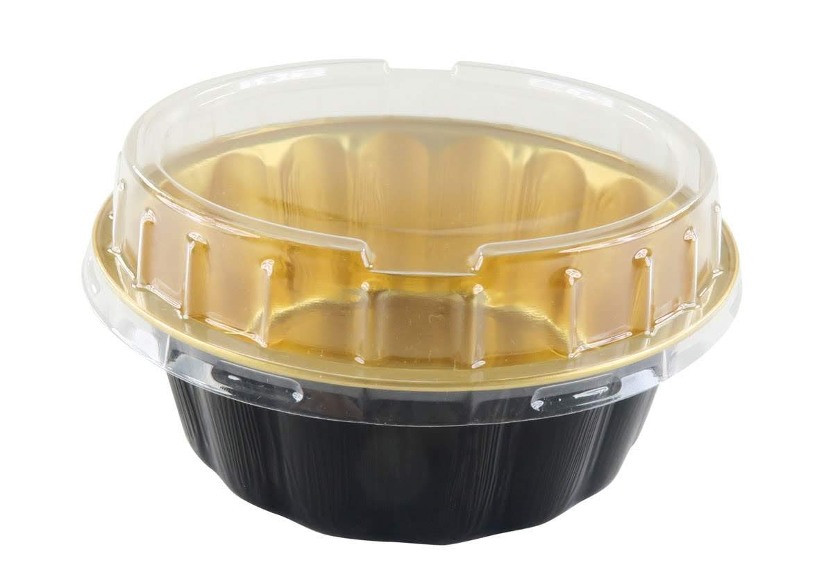 KitchenDance Disposable Colored Aluminum 8 oz. Individual Cake Cups- Tart Pans-Dessert Pans. Color and Lid Options #A8 (50, Black & Gold With Lids) by KitchenDance.com