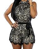 FQHOME Womens Black Lace Nude Illusion Stylish Romper Size M