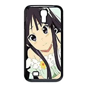 Akiyama Mio Girl Brunette Eyes Posture Cold funda Samsung Galaxy S4 9500 caja funda del teléfono celular del teléfono celular negro cubierta de la caja funda EVAXLKNBC31785