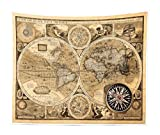 Ambesonne Wanderlust Tapestry King Size, Old Map 1626 a New and Accvrat Map of World Historical Manuscript, Wall Hanging Bedspread Bed Cover Wall Decor, 104' X 88', Pale Yellow