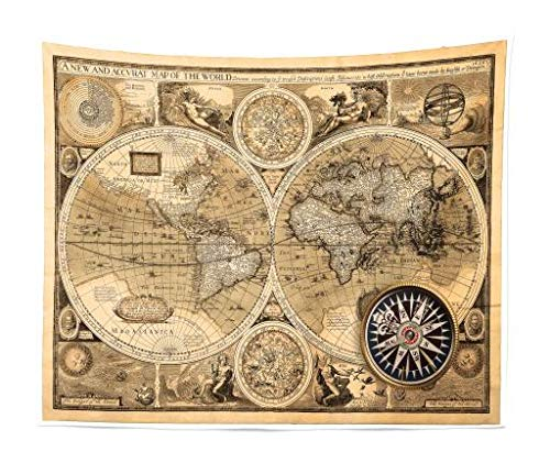 - Ambesonne Wanderlust Tapestry King Size, Old Map 1626 A New and Accvrat Map of World Historical Manuscript, Wall Hanging Bedspread Bed Cover Wall Decor, 104 W X 88 L Inches, Brown Black Pale Brown