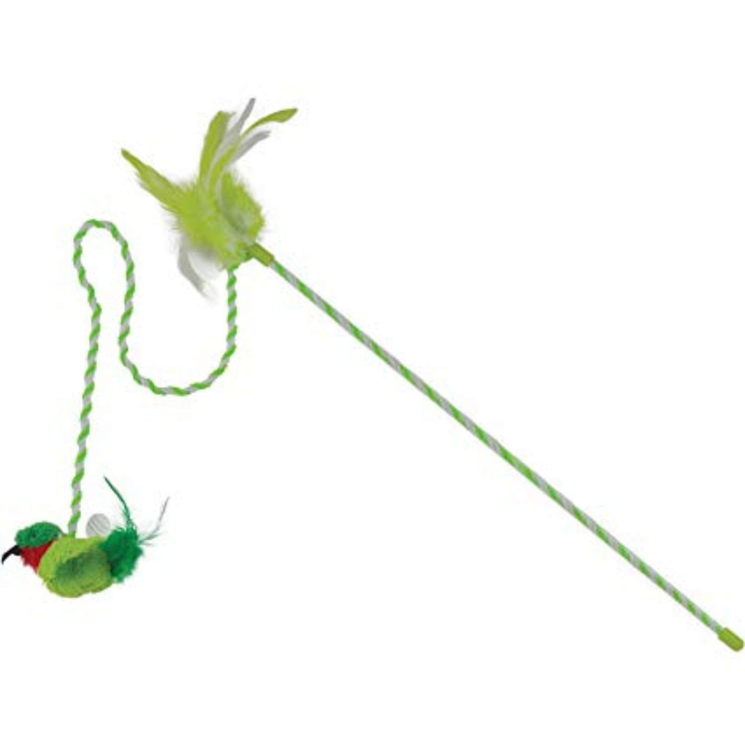 Our Pets Cat Toy Wand with The Original Electronic realbird Sounds Green
