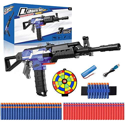 Toy Gun for Boys Girls, AK47 Automatic Nerf Gun Sniper w/ 100 Foam Dart, Target & Wristband, Electric Shooting Blaster 3 Model 3 Speed USB Battery Powered, Game Birthday Xmas Gift for Kids 5-12 Years
