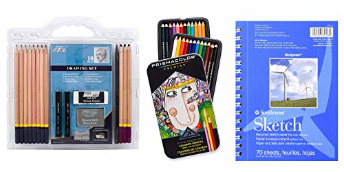 Strathmore Sketch Drawing Pad and Pencil Set for Artists- Combo Pack: 18-Piece Sketch Art Drawing Pencils Set + Prismacolor Colored Pencils + Strathmore drawing pad - 943 Two Post