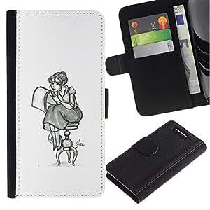 All Phone Most Case / Oferta Especial Cáscara Funda de cuero Monedero Cubierta de proteccion Caso / Wallet Case for Sony Xperia Z1 Compact D5503 // Girl Artist Art Drawing Pencil Sitting Long Skirt