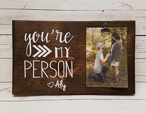 You're My Person Photo board, wood picture frame, photo holder with clip, friend frame, sister gift Heart name