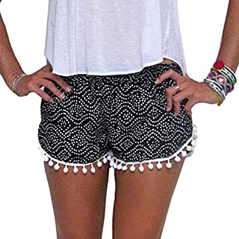 kolylong women polka dot high waist tassel shorts summer. Black Bedroom Furniture Sets. Home Design Ideas