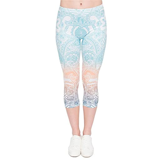 21762209eb81a6 PINK PLOT Women's Buttery Soft Basic Leggings Pants High Stretchy & Skinny  (A Mandala Mint