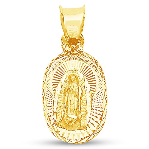 Sonia Jewels 14K Yellow Gold Diamond-Cut Religious Our Lady of Guadalupe Virgin Mary Charm Pendant (16x10 mm)