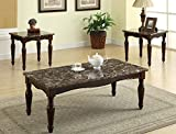 preston end table - Brand New 3-pk Preston Coffee Table and End Tables Cocktail set with Marble Top