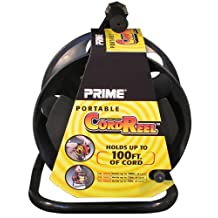 PRIME CR003000 Portable Reel with Metal Stand, Holds 100' of Cord, Black