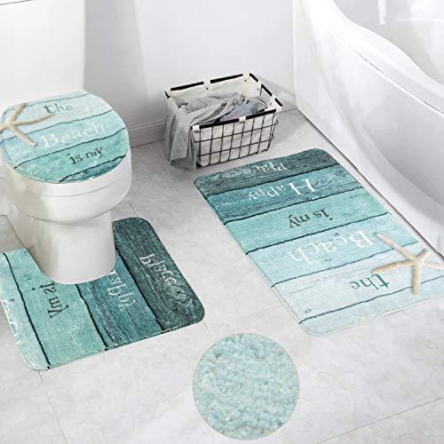 HAOCOO Gradient Grain Bath Rug 3 Piece Velveteen Bathroom Rugs Set, 20 x 20 U-Shape Contoured Toilet Mat & 20 X 31 Rug & 1 Lid Cover,Soft Microfiber Non-Slip Machine-Washable Floor Rug for Tub Shower (Beach Bath Rugs Set)
