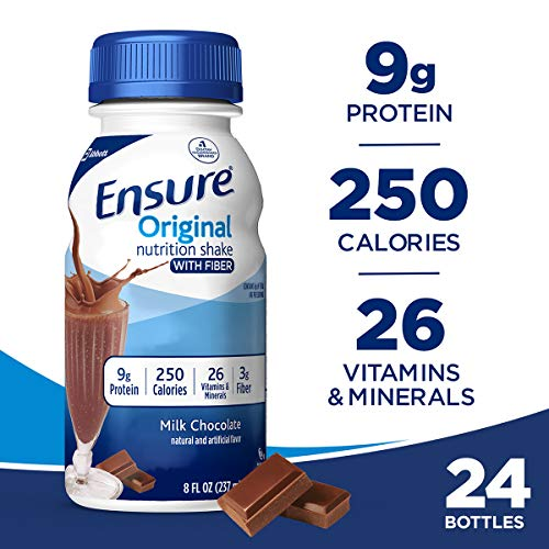 Ensure Original Nutrition Shake with Fiber, 9g High-Quality Protein, Meal Replacement Shakes, Chocolate, 8 fl oz, 24 count (Best High Protein Drink For Elderly)