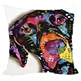 "CafeTime Lovely English Pointer Pillow Covers Art Pet Home Throw Pillow Case Square Decorative Pillowcases Colorful Dog For Sofa Couch Seat 18""x18""Inch"