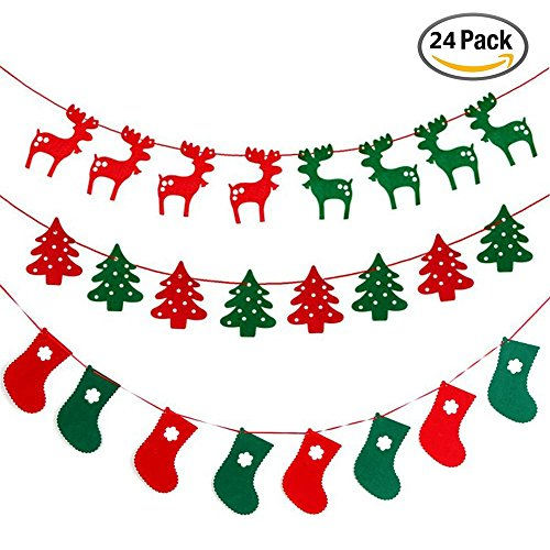 IHUIXINHE Christmas Banner Flags Fabric Felt Hanging Buntings Garland Banner Flags for Christmas Party (3 Sets) - (2 Christmas Cards Incl - Color - Green Christmas Party Cards