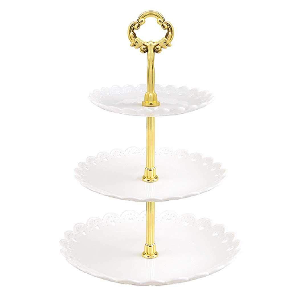 Cupcake St/änder Geb/äck Muffin Obst Halter f/ür Party Hochzeit cietact 3 Etagen Teller Wei/ß Tortenst/änder Kuchenst/änder Weihnachten Geburtstag