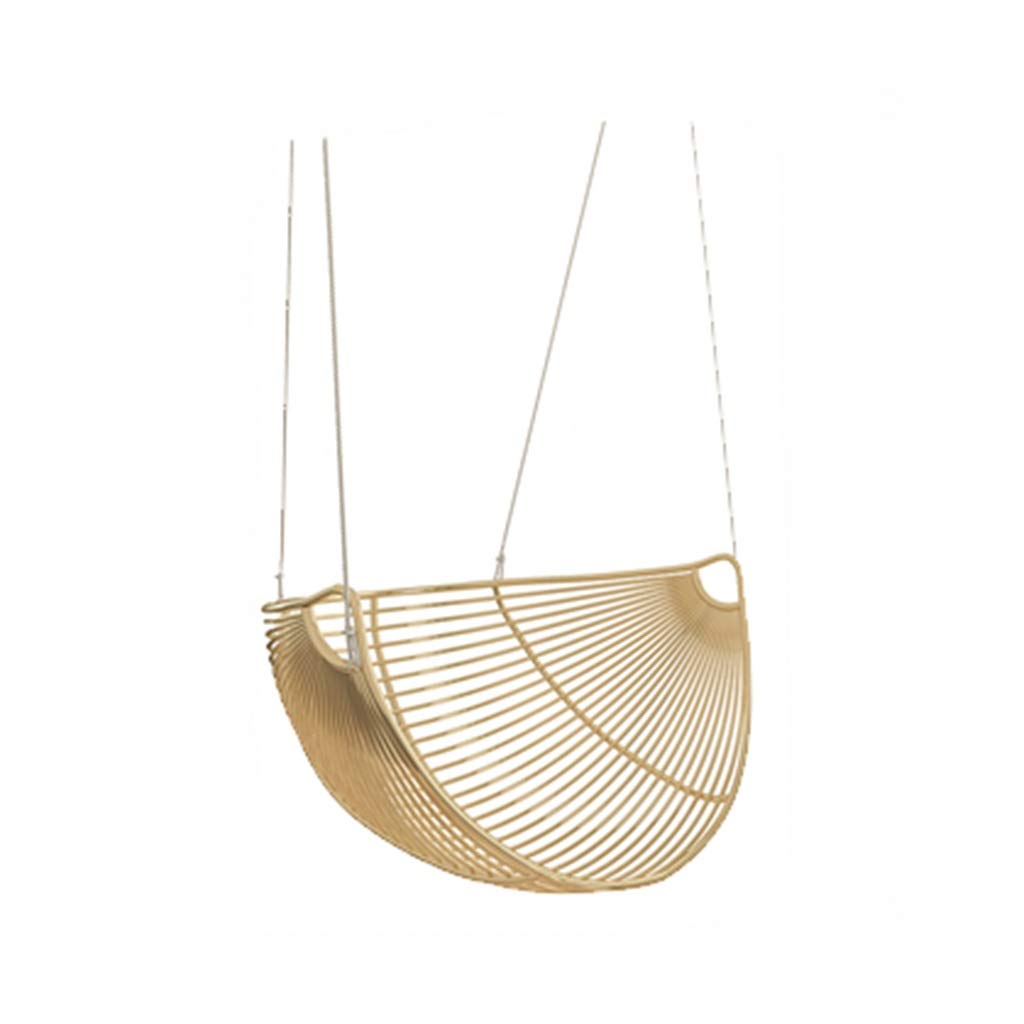 ZHAO YELONG Metal Swing, Cradle, Hanging Chair, Indoor/Outdoor, Patio, Deck, Courtyard, Garden (Color : Gold)