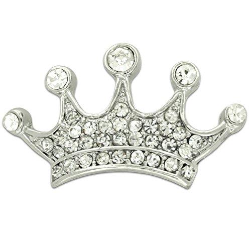 hot PinMart's Silver Plated Rhinestone Crown Bling Brooch Pin