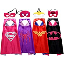 Christmas Comics Cartoon Hero girl (4pcs) Kids Dress Up Costumes Satin Capes with Felt Masks