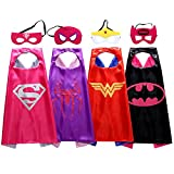 Christmas Comics Cartoon Hero girl (4pcs) Kids Dress Up Costumes Satin Capes with Felt Masks