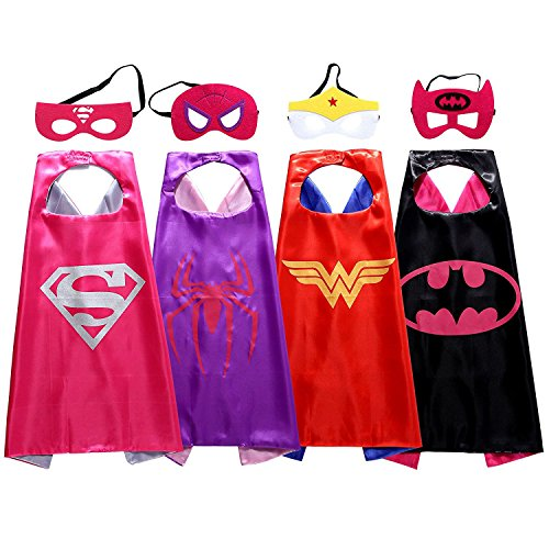 Christmas Comics Cartoon Hero girl (4pcs) Kids Dress Up Costumes Satin Capes with Felt Masks for $<!--$16.99-->