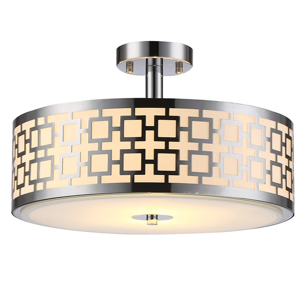 "SOTTAE Luxurious Chrome Finish 2 Lights Glass Diffuser Living Room Bedroom Ceiling Light,Modern Ceiling Lamp Fixture(Diameter:15.74"")"