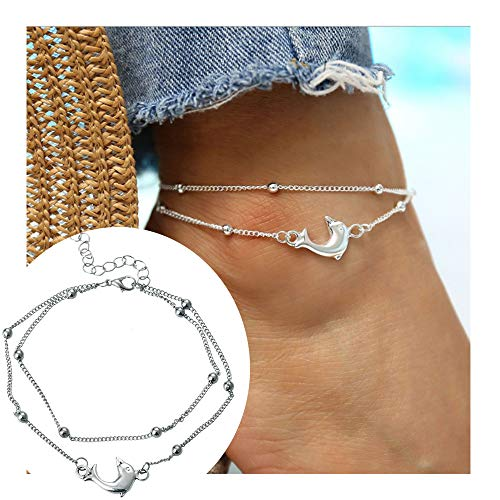 palettei Crystal Silver Plated Dolphins anklets Splicing Dangle anklets (Silver)