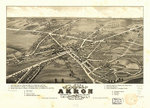 Map: 1882 Sixth ward of Akron, formerly Middlebury, Summit Co., Ohio 1882. Looking south west|Akron|Akron - Store Ohio Summit