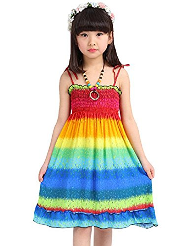 Girls Straps Dress (Sanifer Little Girl Fashion Sleeveless Summer Beach Bohermian Dresses with Necklace (Year 7))
