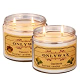 Onlywax 2 Pack Passion fruit And Gardenia Candles Scented Soy Wax 2 Wick Jar Glass, 11oz/ Each, Outdoor and Indoor