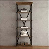 Wooden Bookcase with Fixed Shelves Featuring a Rustic, Industrial, Factory or Urban Look