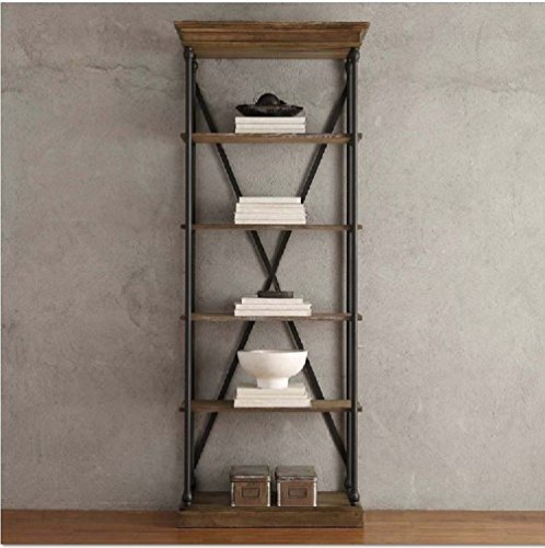Wooden Bookcase with Fixed Shelves Featuring a Rustic, Industrial, Factory or Urban (Open Single Bookcase)