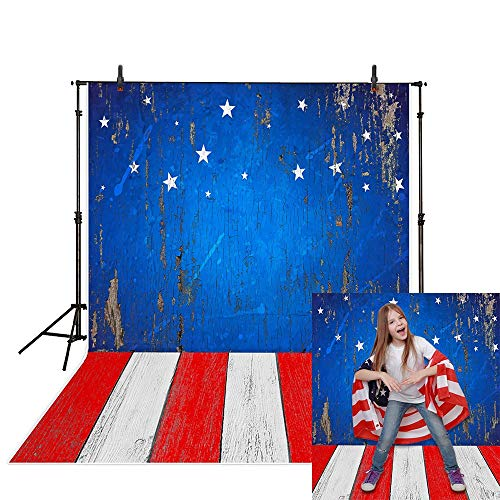 Funnytree 5X7FT Durable Fabric USA Flag Wooden Floor Photography Backdrops American Patriotic 4th of July Independence Day Banner Wood Background for Portrait Photo Booth Studio Photocall Decoration