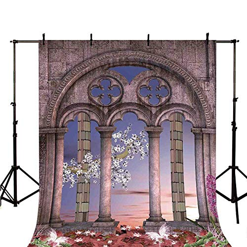 Gothic Stylish Backdrop,Ancient Colonnade in Secret Garden with Flowers at Sunset Enchanted Forest for Photography,59