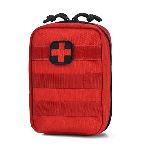 (Reebow Tactical First Aid Bag Only Molle Medical EMT Pouch Military Utility Pouches Red)
