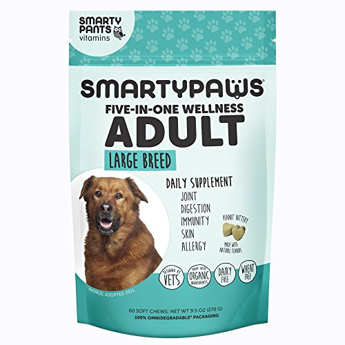 SmartyPaws Dog Supplement Chew- Glucosamine & Chondroitin + MSM for Joint Support, Fish Oil Omega 3 (EPA & DHA), Probiotics, Organic Turmeric: Adult Large Breed - by SmartyPants Vitamins - 60 ct