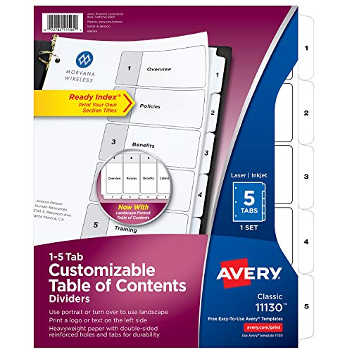 Avery 5-Tab Dividers for 3 Ring Binders, Customizable Table of Contents, Classic White Tabs, 1 Set (11130)